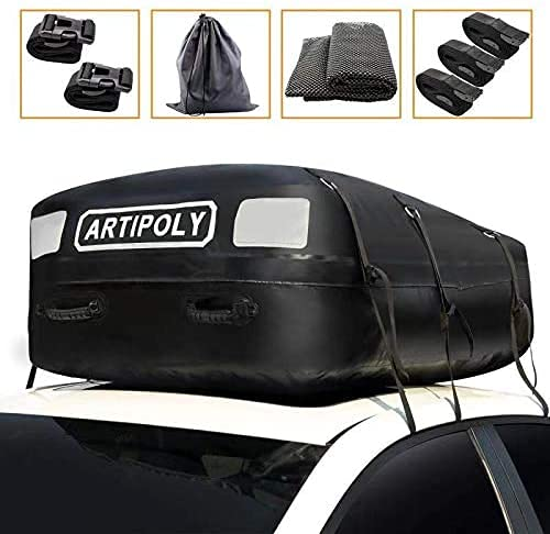 ARTIPOLY 15 Cubic Car Roof Bag, Waterproof Cargo Carrier with Non-Slip Mat and 5 Straps Suitable for Cars with or Without Racks