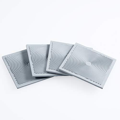 proventa® Anti-Rutsch und Vibrationsdämpfer Pads für Waschmaschinen und Trockner, Made in Germany, grau, 4 Stück, Schwingungsdämpfer, stapelbar