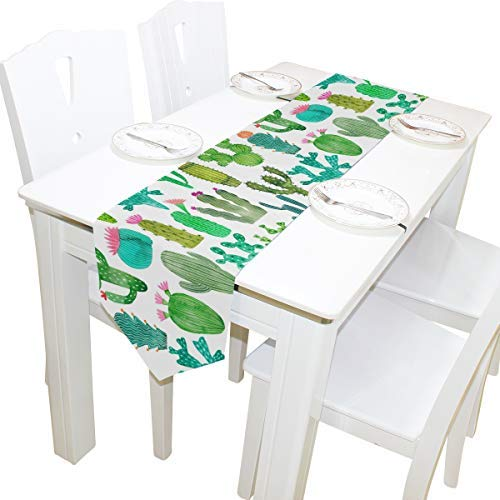 AGONA Watercolor Cartoon Cactus Polyester Table Runner 13 x 90 Inches Long Table Linens Top for Wedding Birthday Dinner Party Banquets Graduations Engagements Home Decor