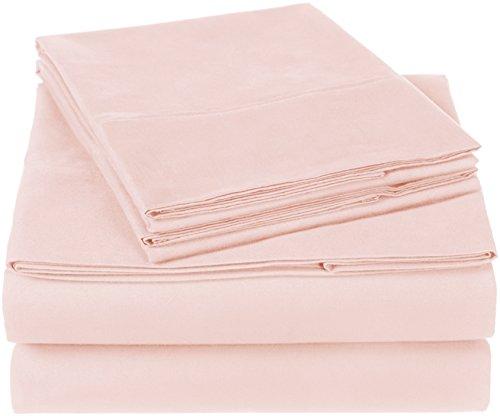 Amazon Brand – Pinzon 300 Thread Count Organic Cotton Bed Sheet Set - Queen, Blush Pink