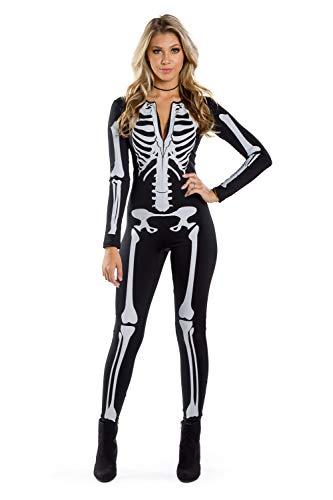 Tipsy Elves Women's Skeleton Halloween Costume Body Suit: Medium Black