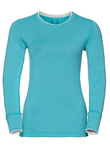 Odlo Suw Top Crew Neck L/S Natural 100% Laine mérinos XL Bleu (Blue Radiance) / Blanc.