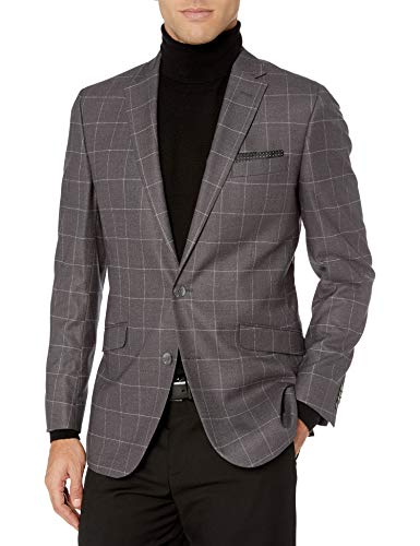 Kenneth Cole REACTION Slim Fit Men's Blazer, Grey Windowpane, 42 Long