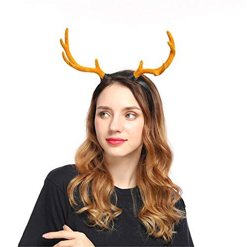 Zuhause Christmas Geweih Haarreif Weihnachten Haarig Weihnachtszubehör Stirnbänder für Cosplay Damen Herren Weihnachts-Stirnband Party Haarband Weihnachtsdeko Haarbänder Gummiband (Braun)
