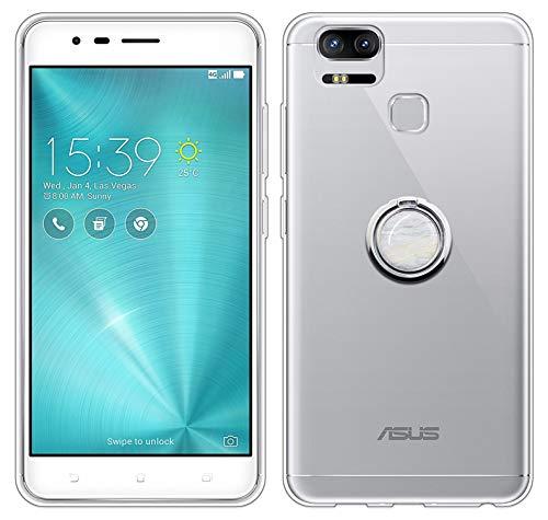 Sunrive Für Asus ZenFone Zoom S ZE553KL 5,5 Zoll Hülle Silikon, Transparent Handyhülle 360°drehbarer Ständer Ring Fingerhalter Fingerhalterung Schutzhülle Etui Hülle(Weisser Marmor) MEHRWEG