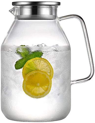 Jarra de agua con tapa, jarra de vidrio de borosilicato, tapa de acero inoxidable y posavasos (tamaño: 2,2 L)