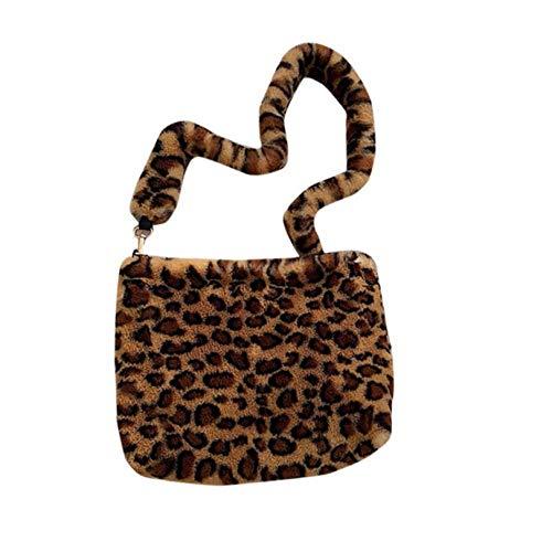 shuangklei Leopard Women Plush Shoulder Bag Bolso De Piel Suave Para Niña Invierno Big Square Messenger Bag Crossbody Totes Warm Pouch Vintage-D