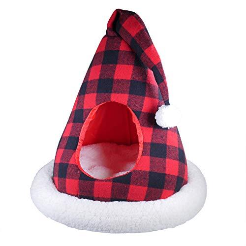 Rosewood Luxury Buffalo - Sombrero de Papá Noel para Cama de Gato, diseño de Cuadros