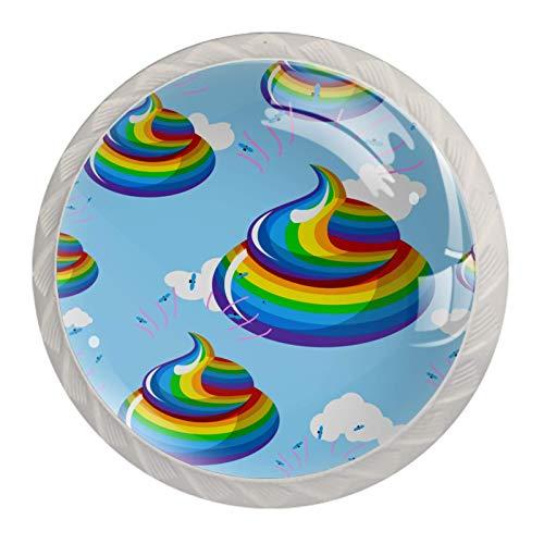 (4 unidades) de cristal para armario de armario, para casa, oficina, dormitorio, sala de estar, baño, con tornillos, divertido arco iris, color azul