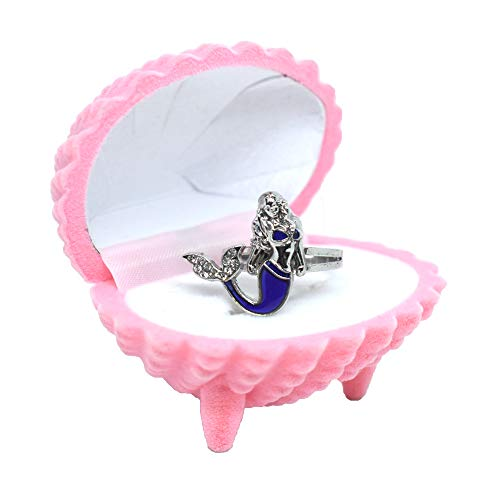Fineder 1 Pack Mermaid Mood Ring Color Change Kids Ring with Pink Shell Ring Box for Girls, Girl Pretend Play and Dress Up Ring