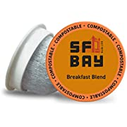SF Bay Coffee Breakfast Blend 12 Ct Medium Roast Compostable Coffee Pods, K Cup Compatible including Keurig 2.0