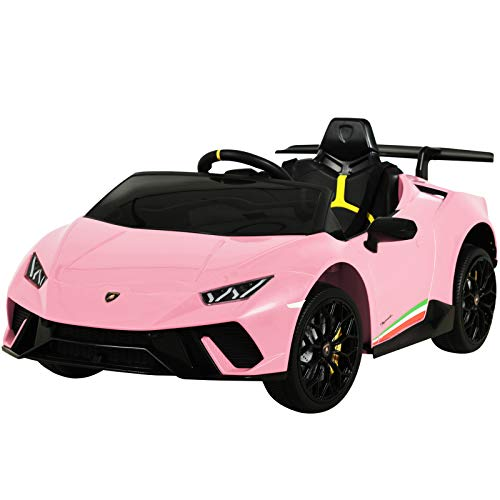 Uenjoy 12V Kids Electric Ride On Car Lamborghini Huracán Motorized Vehicles with Remote Control, Battery Powered, LED Lights, Wheels Suspension, Music,Compatible with Lamborghini, Pink