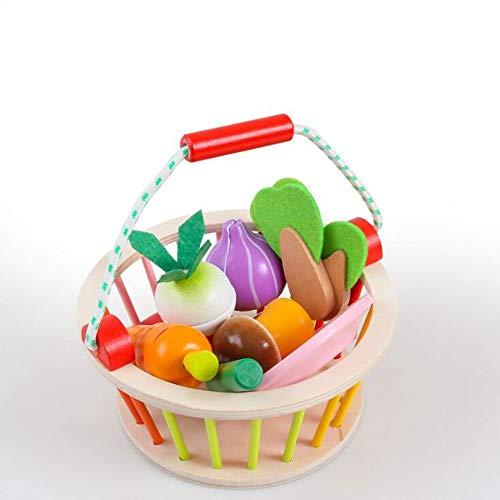 HSCW Niños Magnético de madera Cortar Frutas Verduras Comida Juguete Juego Pretender Play Play Cocina Juguete Color Percepción Toys Regalos para Preescolar Edad Niños con cesta de almacenamiento