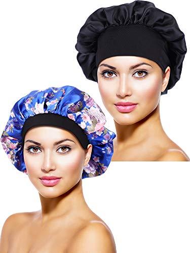 2 Stücke Satin Bonnet Nacht Schlaf Mütze Schlaf Kopf Abdeckung für Damen Mädchen...