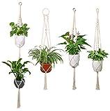 Luxbon 4X Makramee Blumenampel Baumwollseil Pflanzenaufhänger Blumentopf Halter für Decken Balkone Boehmische Wanddekoration 40-55''(102-140 cm)