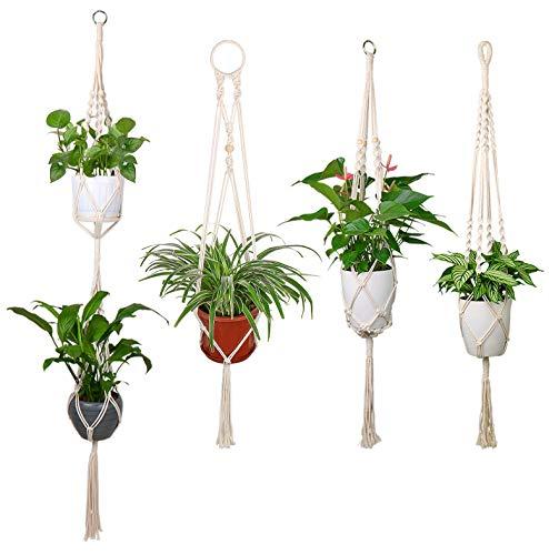 Luxbon 4X Makramee Blumenampel Baumwollseil Pflanzenaufhänger Blumentopf Halter für Decken Balkone Boehmische Wanddekoration 40-55\'\'(102-140 cm)