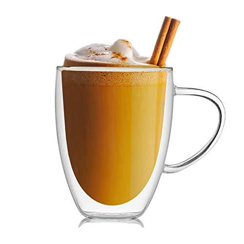 Doppelwandige Gläser Latte Macchiato Gläser mit Henkel,Trinkgläser Kaffeeglas, Durchsichtige Tassen, Kaffee, Cocktail, Espresso, Latte, Macchiato, Cappuccino (350ml)