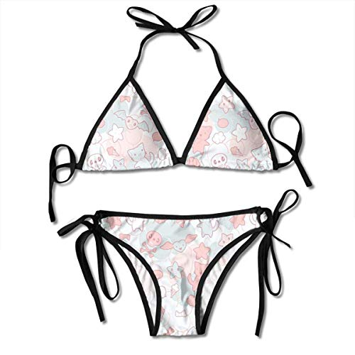 Sexy Triangle Bathing Two Pieces Women's Tie Side Triangle Bikini Swimsuits Cartoon Styled Cute Cats Bats and Skulls Japanese Inspired Kawaii Design Bikini Sets Beach Swimwear Bathing Suit