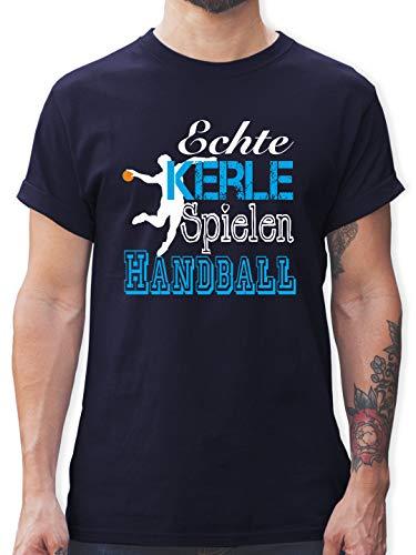 Handball - Echte Kerle Spielen Handball weiß - XXL - Navy Blau - t-Shirt Herren Handball Spruch - L190 - Tshirt Herren und Männer T-Shirts