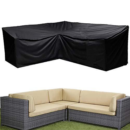 Patio Furniture Cover,V-Shaped Sectional Sofa Cover,Outdoor Sectional Furniture Set Cover, Water-Resistant Garden Couch Cover (V-Shape(300cm) 118inch)