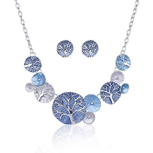 Cring Coco Tree of Live Pendant Necklaces for Women Enamel Alloy Chain Choker Necklace Jewelry Accessories Gift Blue