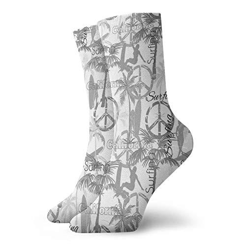 Calcetines suaves de longitud media de pantorrilla, silueta de una mujer surfista en el océano, signos de paz con patrón retro, calcetines para hombres y mujeres