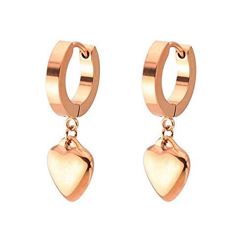 Earrings Women Studs Rectangle Tassel Earrings Women Men Stainless Steel Stud Ear Jewelry Gifts-Rose