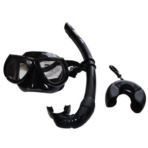 Scuba Choice Black Free Dive Low Volume Silicone Mask and Nautilus Snorkel Set