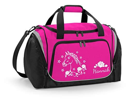 Mein Zwergenland Sporttasche Kinder personalisierbar mit Schuhfach, Kindersporttasche 39L mit Name und Pferd Bedruckt in Pink