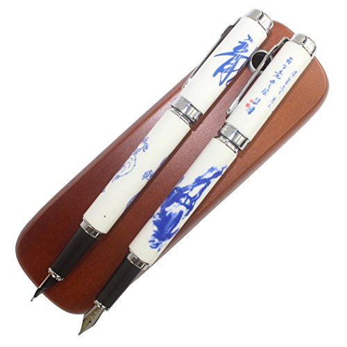 Luxury pens Gullor 950 blue and white porcelain horses and dragons and Chinese calligraphy + 2 branches Brown Wooden pen box