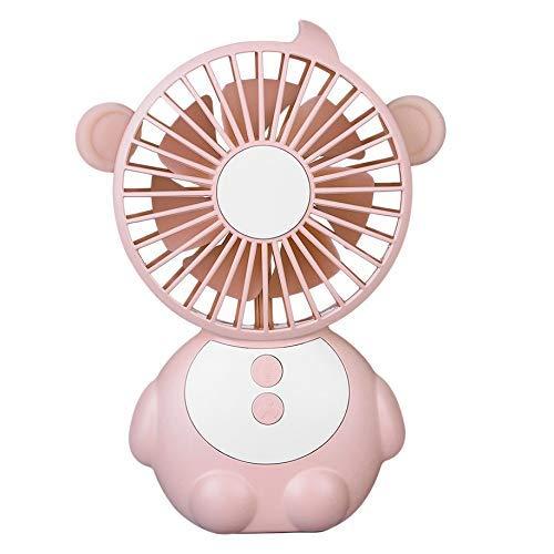 LKK-KK Mono en Forma de Ventilador del Escritorio del Ventilador USB portátil de Mano con luz de Color Rosa la Noche