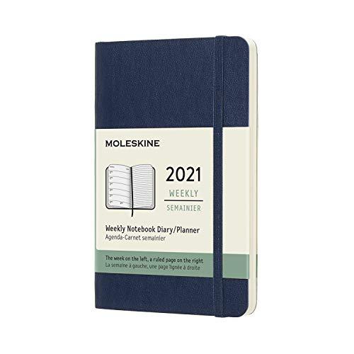 Moleskine - Agenda Settimanale 2021, Agenda Settimanale 12 Mesi, Weekly Planner e Notebook, Copertina Morbida, Formato POCKET 9 x 14 cm, Colore Blu Zaffiro, 144 Pagine