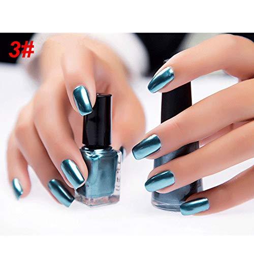 Whiie891203 6ml Spiegel Nagellack, Metallic Chrom Spiegeleffekt Maniküre Werkzeug Nagellack Lack Lack Aufkleber # 3 Mirror Ghost Blue
