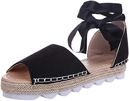 Damen Espadrilles Plateau mit Bändern zum Schnüren Sommer Peep Toe Sandalen Strandschuhe Schöne Sommerschuhe Elegante Sandaletten Celucke (Schwarz, EU37)
