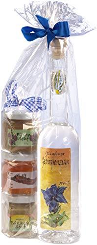 Geschenkset aus dem Allgäu | 200ml Gebirgs Enzian 38% Vol. | Senf Geschenkset | Handgemachte Senfe | Bärlauchsenf, Feigensenf, Chili-Paprika-Gelee (200ml+40/45/50g)