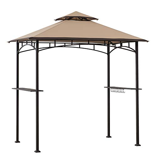 Sunjoy A103002203 Harborcreek 5x8 ft. Steel 2-Tier Grill Gazebo, Tan & Brown