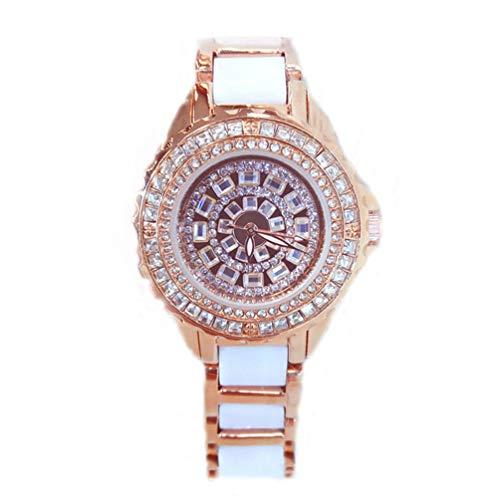 HETUI Reloj de Pulsera con Diamantes de imitación para Mujer, Esfera Redonda, aleación, Correa de cerámica, Reloj de Cuarzo (Oro Rosa)