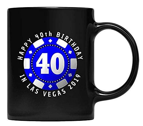 N\A 40.o cumpleaños en Las Vegas 2019 Poker Chip Gift t Taza