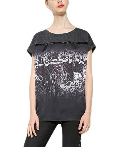 Desigual TS_Leopard Degrade T-Shirt, Gris (Gris Medio 2007), Medium Femme