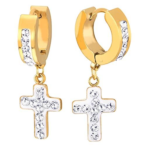 Oro Pendientes del Aro, Huggie Pendientes Colgantes Cruz con Circonio Cúbico Esmalte Blanco,Hombres Mujer, Acero