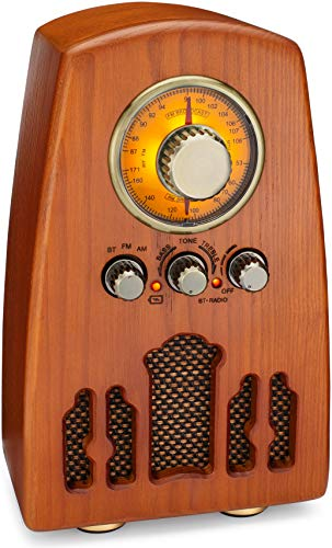 ClearClick Vintage Style AM/FM Radio with Bluetooth - Handmade Wooden Exterior with Classic Retro Look