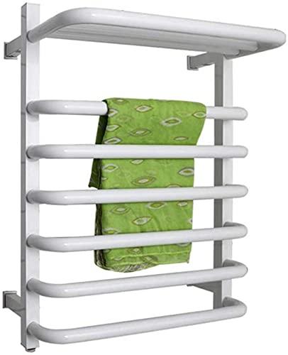 Väggmonterad handduksvärmare med topphylla energieffektiv handduksvärmare för badrum Elektrisk uppvärmd handduksställning med på/av-brytare, vit, trådbunden