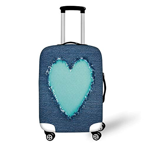 Travel Luggage Cover Suitcase Protector,Navy and Teal,Ripped Denim Jean Fabric Image Heart Shape Love Romance Valentines Day Decorative,Navy Blue Seafoam,for Travel S
