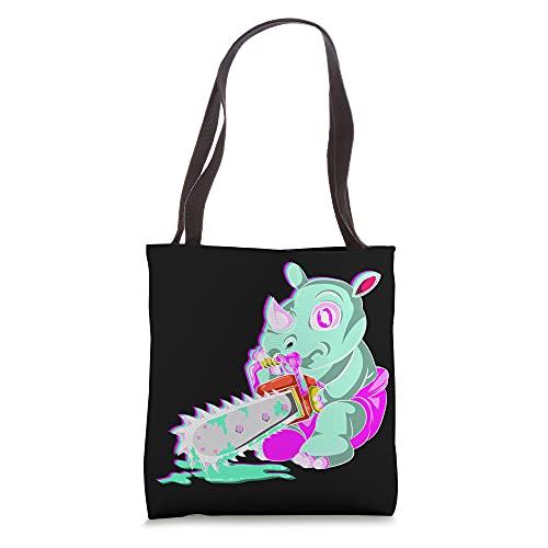 Creepy Vaporwave Animal Pastel Goth Chainsaw Kowai Rhino Tote Bag