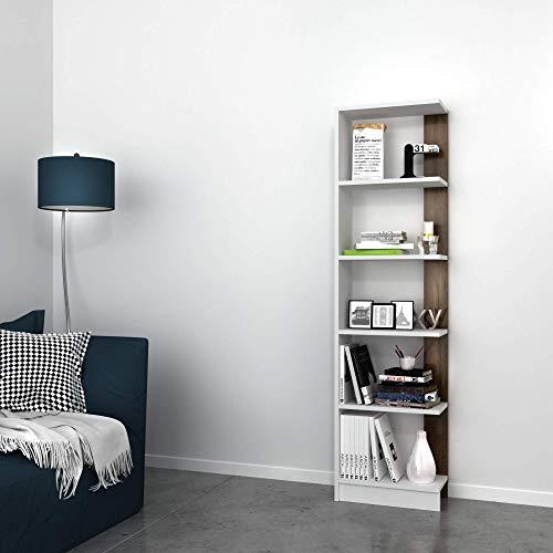 Homemania Libreria Pupis, Legno, Bianco-Noce, 45x22x170 cm