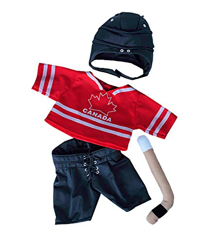 Canada Hockey w/Helmet & Stick Teddy Bear Clothes Fits Most 14'-18' Build-A-Bear and Make Your Own Stuffed Animals