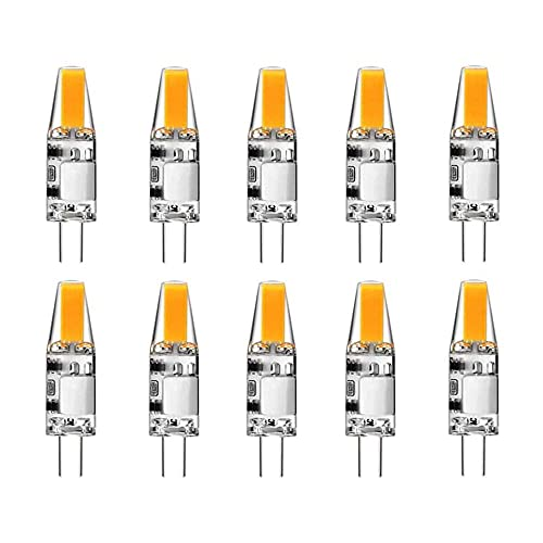 Gmasuber Bombillas LED G4 10 unidades G4 Bi-Pin Base 2 W AC/DC 12 V Blanco cálido 3000 K LED para techo de paisaje debajo de la iluminación del puck