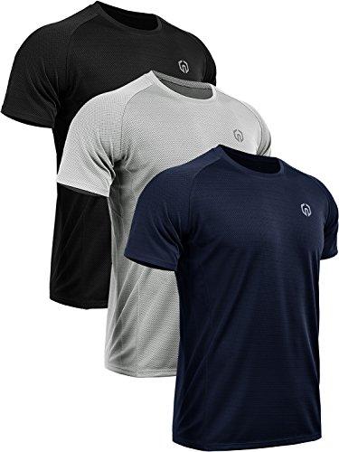 Neleus Men's 3 Pack Mesh Athletic Running Workout Shirts,5033,Black,Grey,Navy Blue, L