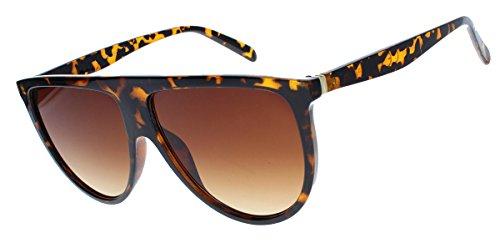 amashades Vintage Classics Übergroße Damen Sonnenbrille im Flat Top Stil groß halbrund VS76 (Hornbrille braun)
