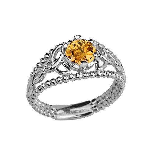Sterling Silver Modern Beaded Celtic Trinity Knot Engagement Ring with Genuine Citrine (Size 6.25)